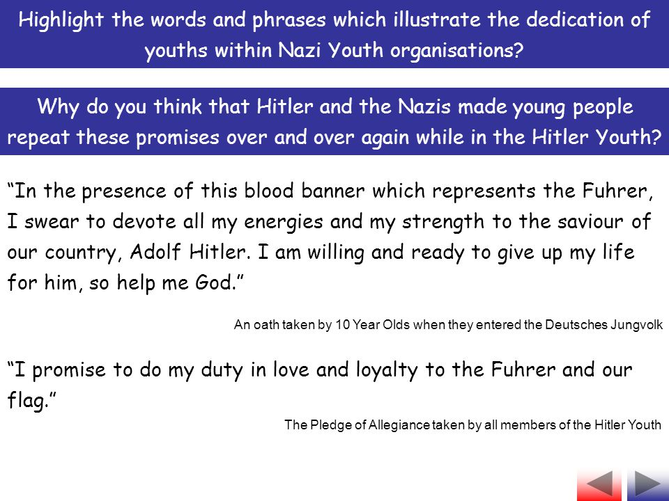 You had to swear an oath of allegiance to the Fuhrer Hitler Youth Facts You experienced outdoor activities such as hiking and camping The abbreviation used for Hitler Youth is HJ Fact 4