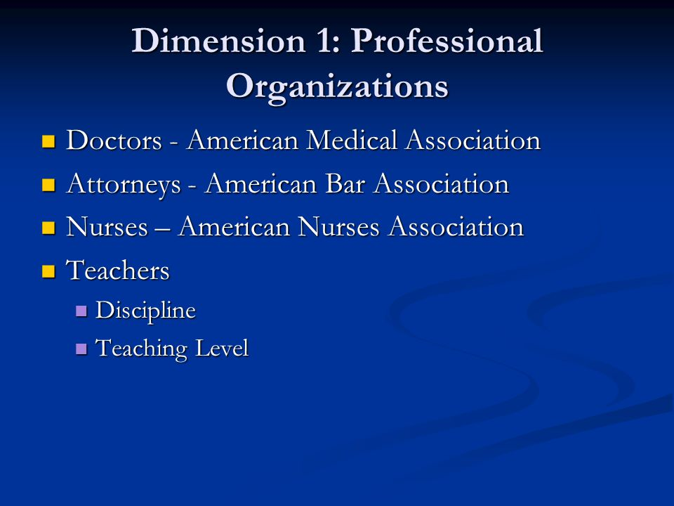 Dimension 1: Professional Organizations Doctors - American Medical Association Doctors - American Medical Association Attorneys - American Bar Associa