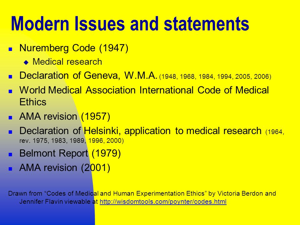 Modern Issues and statements Nuremberg Code (1947)  Medical research Declaration of Geneva, W.M.A.