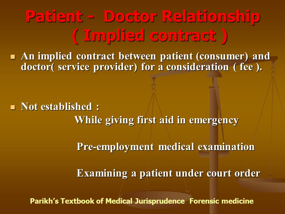 Patient - Doctor Relationship ( Implied contract ) An implied contract between patient (consumer) and doctor( service provider) for a consideration (