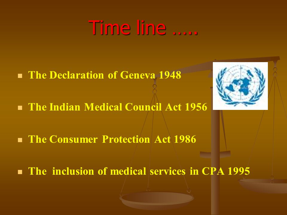 Time line ….. The Declaration of Geneva 1948 The Indian Medical Council Act 1956 The Consumer Protection Act 1986 The inclusion of medical services in
