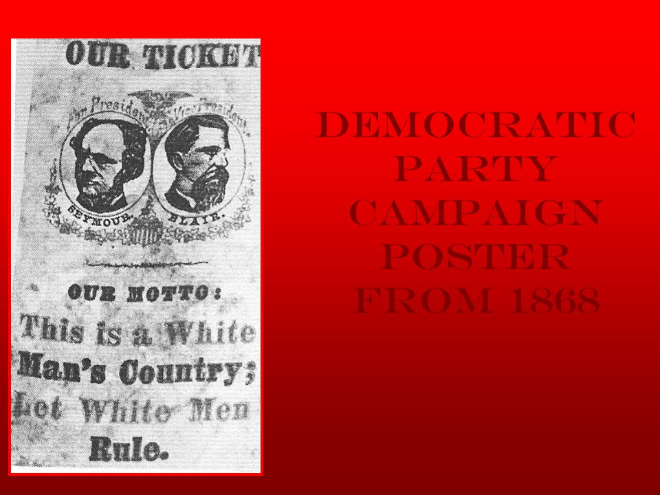Democratic Party Campaign Poster from 1868