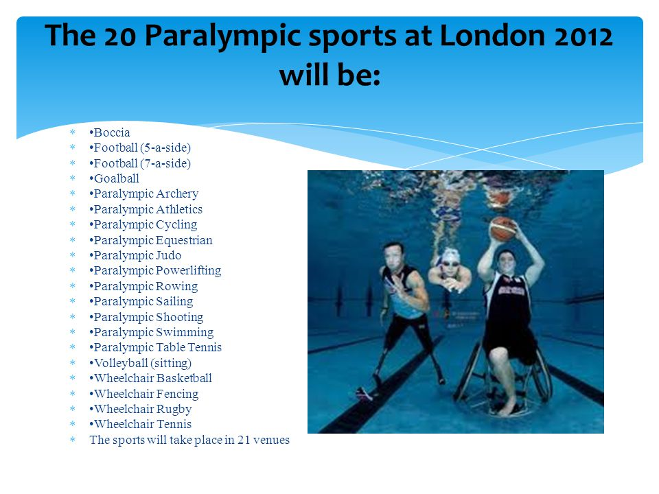  Boccia  Football (5-a-side)  Football (7-a-side)  Goalball  Paralympic Archery  Paralympic Athletics  Paralympic Cycling  Paralympic Equestri