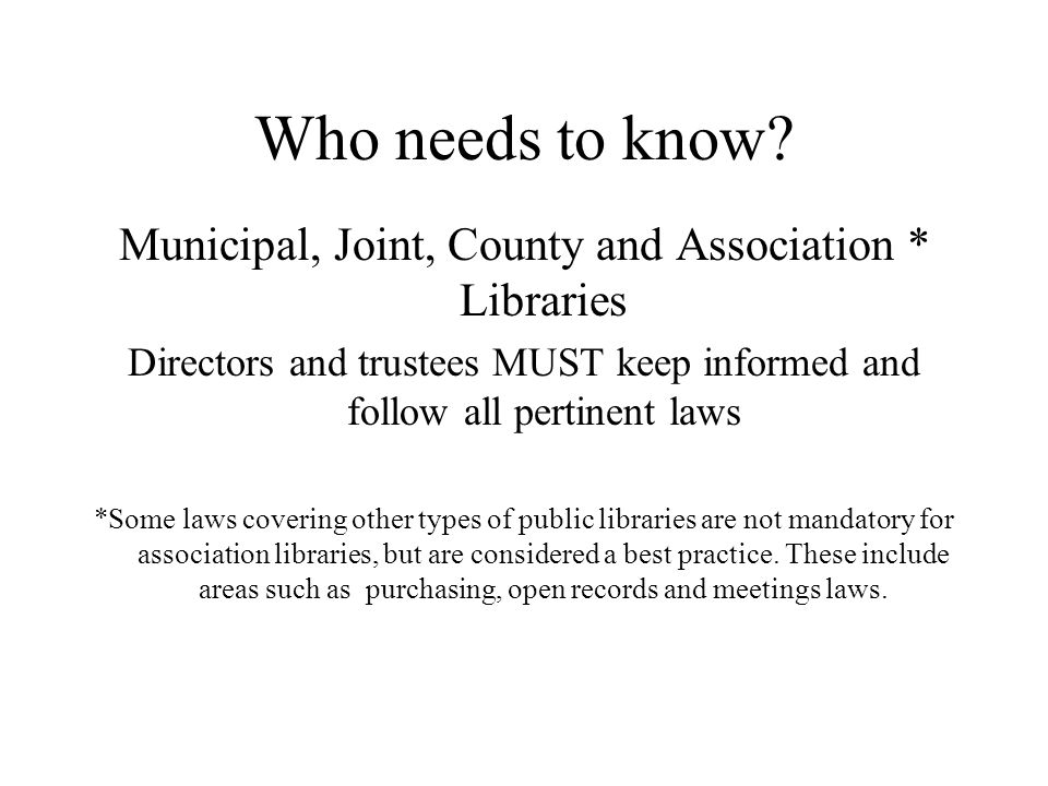 Establishment of Association and County Library Boards Association libraries follow the requirements of the Nonprofit Corporation Act County library law differs somewhat in composition and commissioner appointment but maintains the five-year term and stagger (NJSA 40:33-7) There are five members except the governing body of any county that has a county library commission with fewer than three members who are residents of municipalities supporting the county library system shall increase the size of its commission to seven members; additional members shall be residents of municipalities that support the county library system Each county library commission shall have a majority of members who are residents of municipalities which support the county library system.