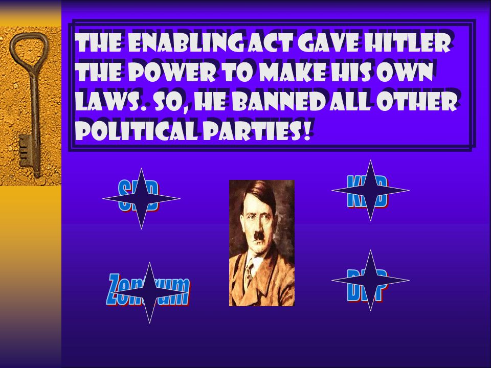 March 1933 HITLER CAN RULE ALONE FOR FOUR YEARS. THERE IS NO NEED TO CONSULT THE REICHSTAG. With the Communists banned from the Reichstag Hitler was a