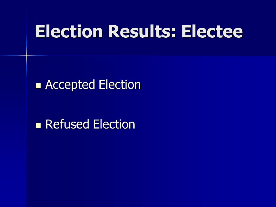 Election Results: Electee Accepted Election Accepted Election Refused Election Refused Election