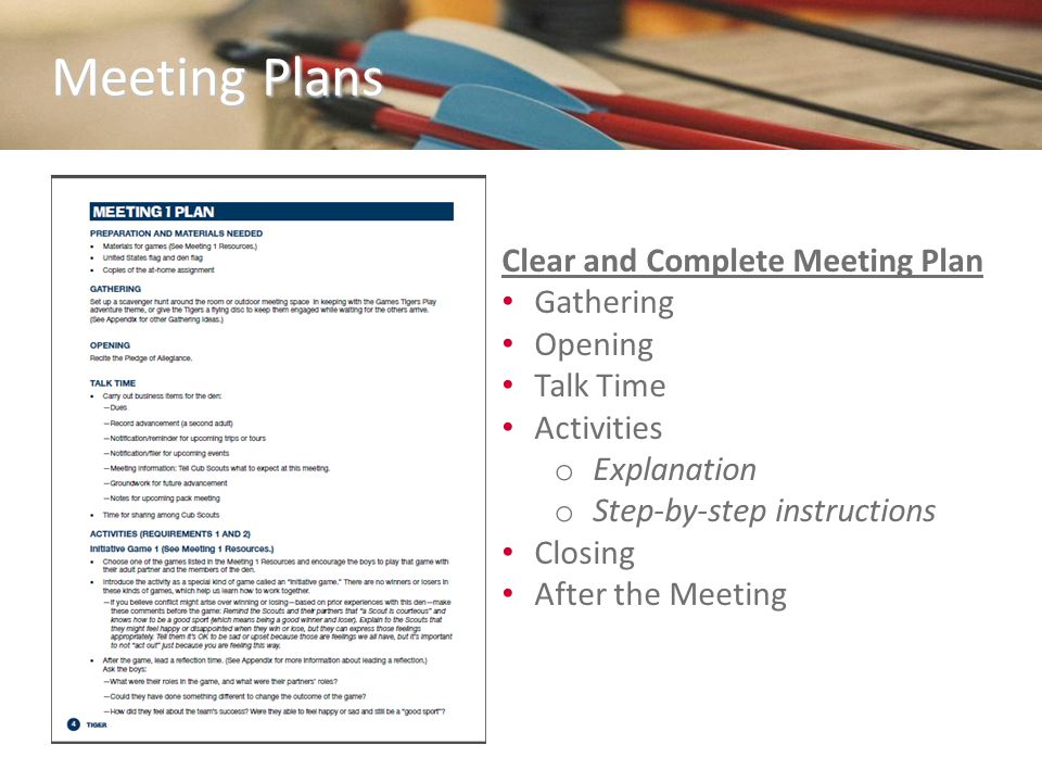 Clear and Complete Meeting Plan Gathering Opening Talk Time Activities o Explanation o Step-by-step instructions Closing After the Meeting Meeting Pla