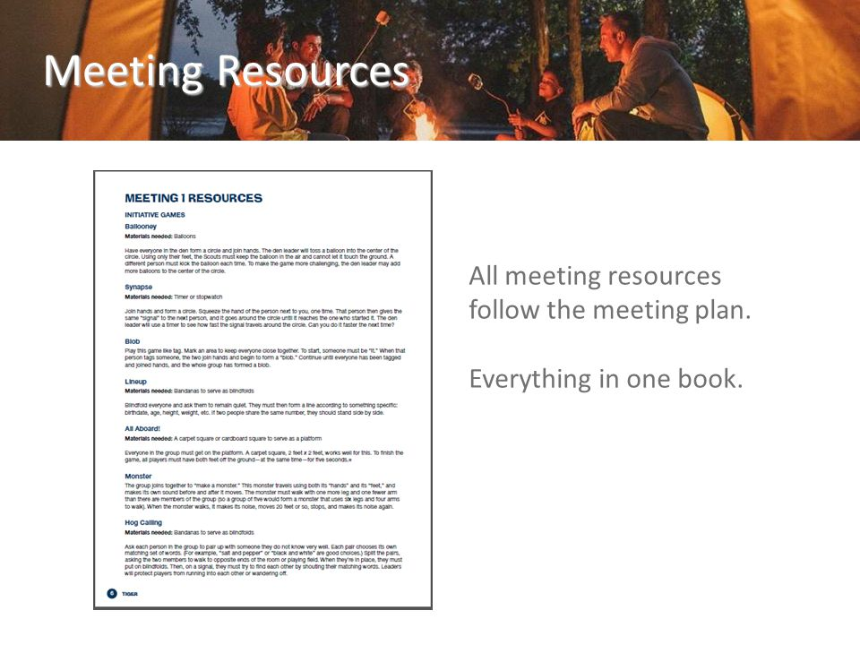 All meeting resources follow the meeting plan. Everything in one book. Meeting Resources