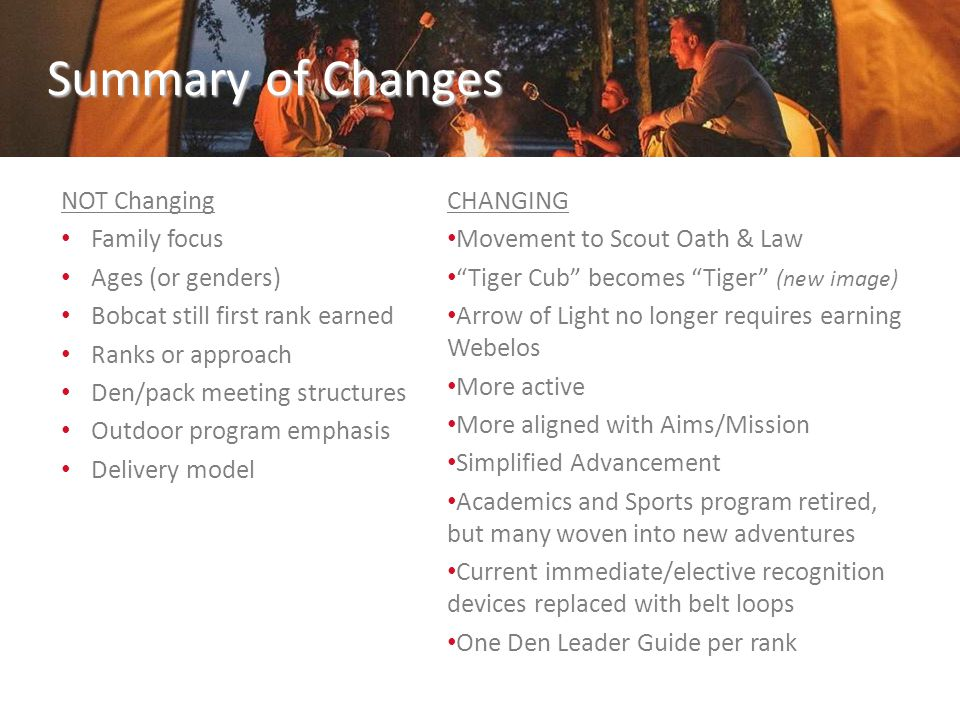 Summary of Changes NOT Changing Family focus Ages (or genders) Bobcat still first rank earned Ranks or approach Den/pack meeting structures Outdoor pr