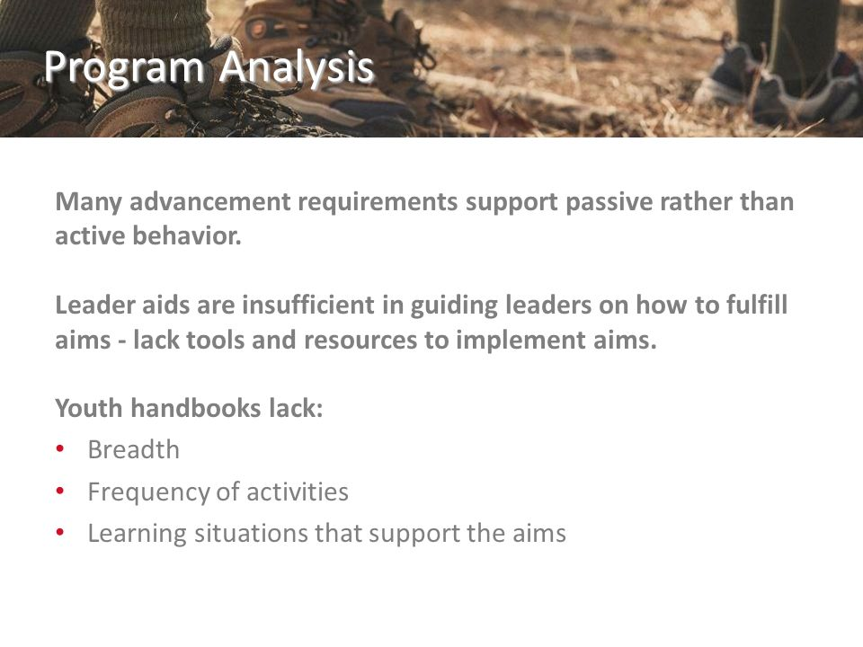 Program Analysis Character Development: Cub Scout program structure does not facilitate adequate coverage of all 12 Core Values The youth handbook activities do little to facilitate the discussions necessary to leverage the methods and instill values.