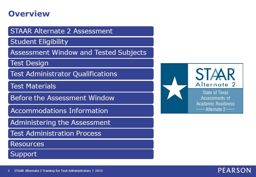 Test Materials STAAR Alternate 2 test administrators will be provided with the following materials: STAAR Alternate 2 Training for Test Administrators l 201514 Provides a guide to administering the test, as well as specific instructions for administering each question Contains the images for the questions and answer choices presented to the student.