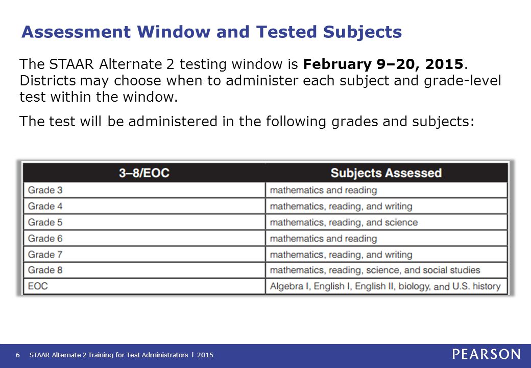 Accommodations Information STAAR Alternate 2 Training for Test Administrators l 201517 Accommodations must be determined and prepared before the testing window begins on February 9, 2015.
