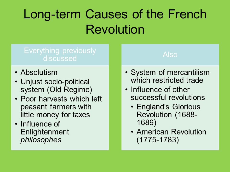 Short-term Causes of the French Revolution Bankruptcy Caused by deficit spending Financial ministers (Turgot, Necker, Calonne) proposed changes But these were rejected Assembly of Notables voted down taxation for the nobility in 1787 Great Fear Worst famine in memory Hungry, impoverished peasants feared that nobles at Estates- General were seeking greater privileges Attacks on nobles occurred throughout the country in 1789 Estates-General Louis XVI had no choice but to call for a meeting of the Estates-General to find a solution to the bankruptcy problem All three estates Had not met since 1614 Set in motion a series of events which resulted in the abolition of the monarchy and a completely new socio-political system for France
