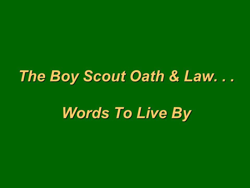 The Boy Scout Oath & Law... Words To Live By