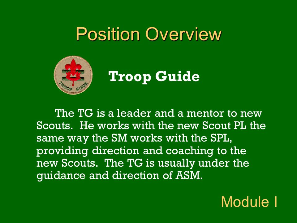 Position Overview Troop Guide The TG is a leader and a mentor to new Scouts. He works with the new Scout PL the same way the SM works with the SPL, pr