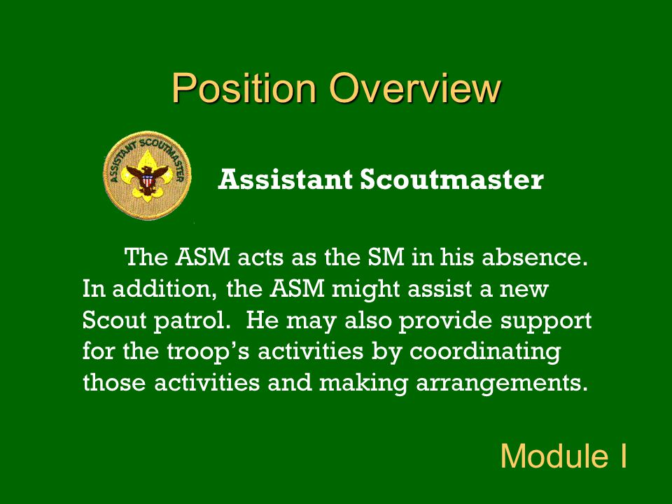 Position Overview Assistant Scoutmaster The ASM acts as the SM in his absence. In addition, the ASM might assist a new Scout patrol. He may also provi