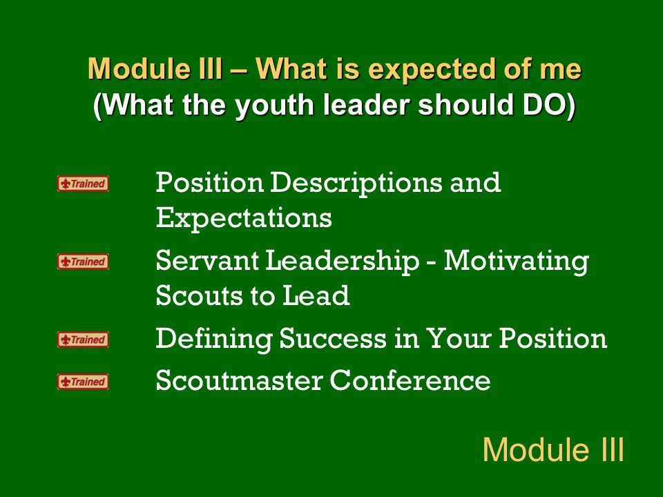 Module III – What is expected of me (What the youth leader should DO) Position Descriptions and Expectations Servant Leadership - Motivating Scouts to
