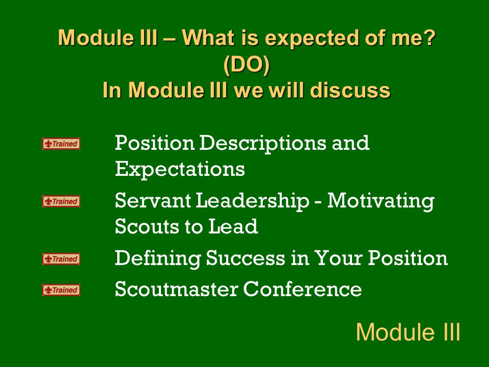 Module III – What is expected of me? (DO) In Module III we will discuss Position Descriptions and Expectations Servant Leadership - Motivating Scouts