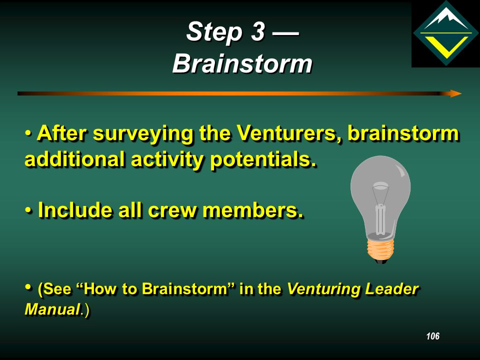 105 Step 2 — Activity Interest Survey Step 2 — Activity Interest Survey This questionnaire is completed by the Venturers.