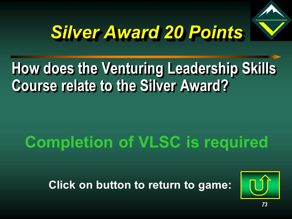 72 Silver Award 10 Points May a Venturer earn all five Bronze Awards.