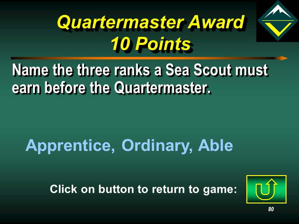 79 Ranger Award 40 Points Explain how a Venturer can receive multiple credit and/or past credit for work done as a Boy Scout.