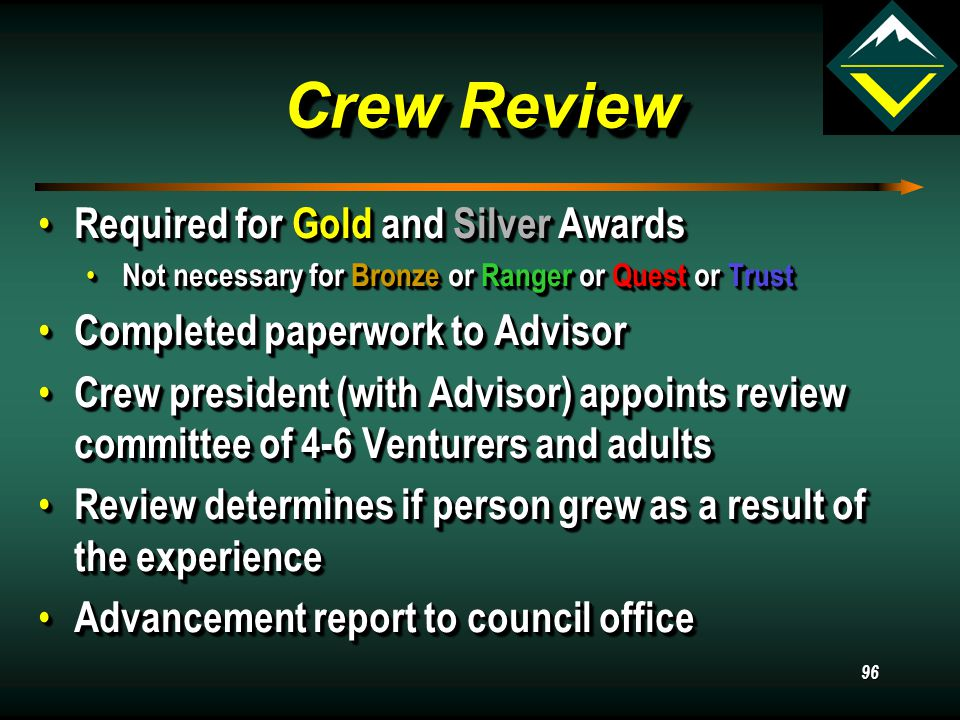 95 Boards of Review Scout ranks (only) must have boards of review Scout ranks (only) must have boards of review May be done by the troop or crew, if dual registered May be done by the troop or crew, if dual registered 3-6 committee members 3-6 committee members No advisors, assistants, or relatives No advisors, assistants, or relatives Purposes Purposes Work has been learned and completed Work has been learned and completed What kind of experience youth having.