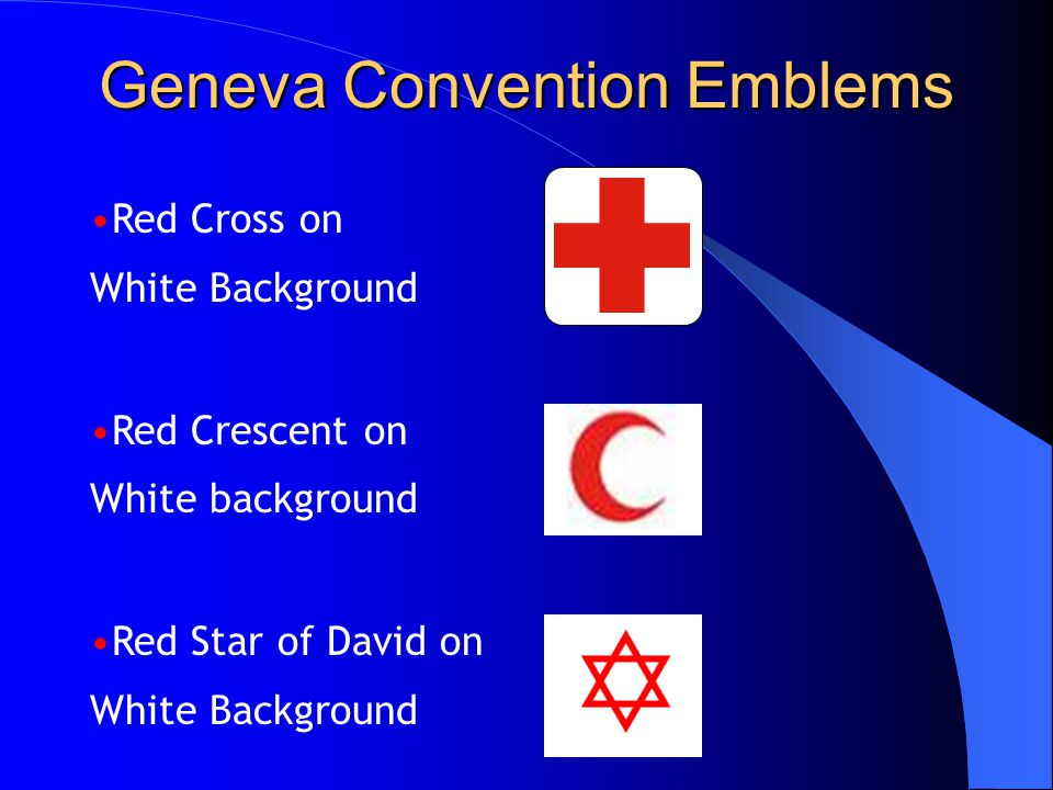 Geneva Convention Emblems Red Cross on White Background Red Crescent on White background Red Star of David on White Background