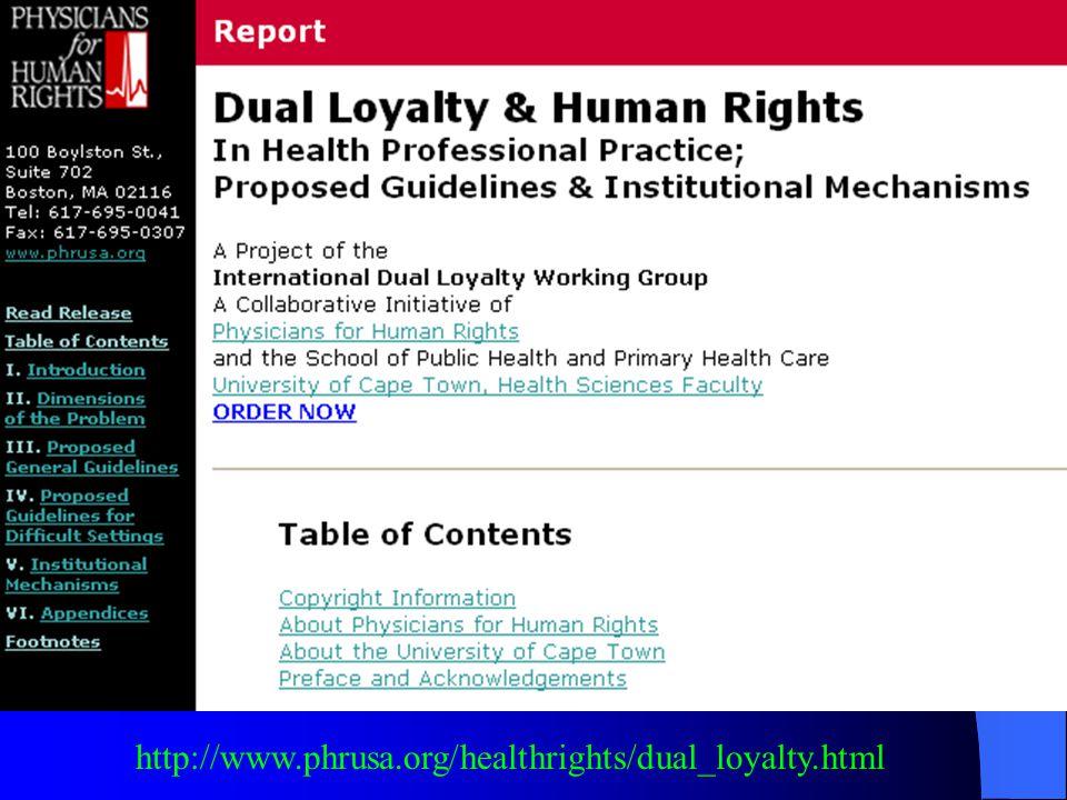 http://www.phrusa.org/healthrights/dual_loyalty.html