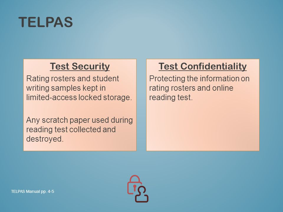 TELPAS Test Security Rating rosters and student writing samples kept in limited-access locked storage.