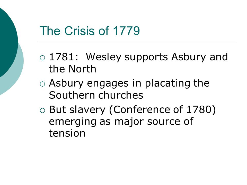 The Crisis of 1779  1781: Wesley supports Asbury and the North  Asbury engages in placating the Southern churches  But slavery (Conference of 1780) emerging as major source of tension