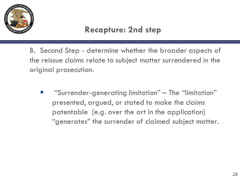 28 Recapture: 2nd step B.