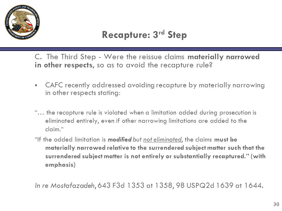30 Recapture: 3 rd Step C.