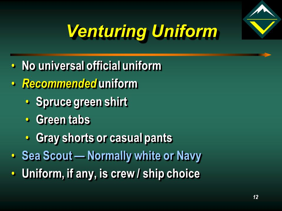 11 What is Venturing? Venturing is a youth development program of the Boy Scouts of America for young men and women who are at least 14 years old (and