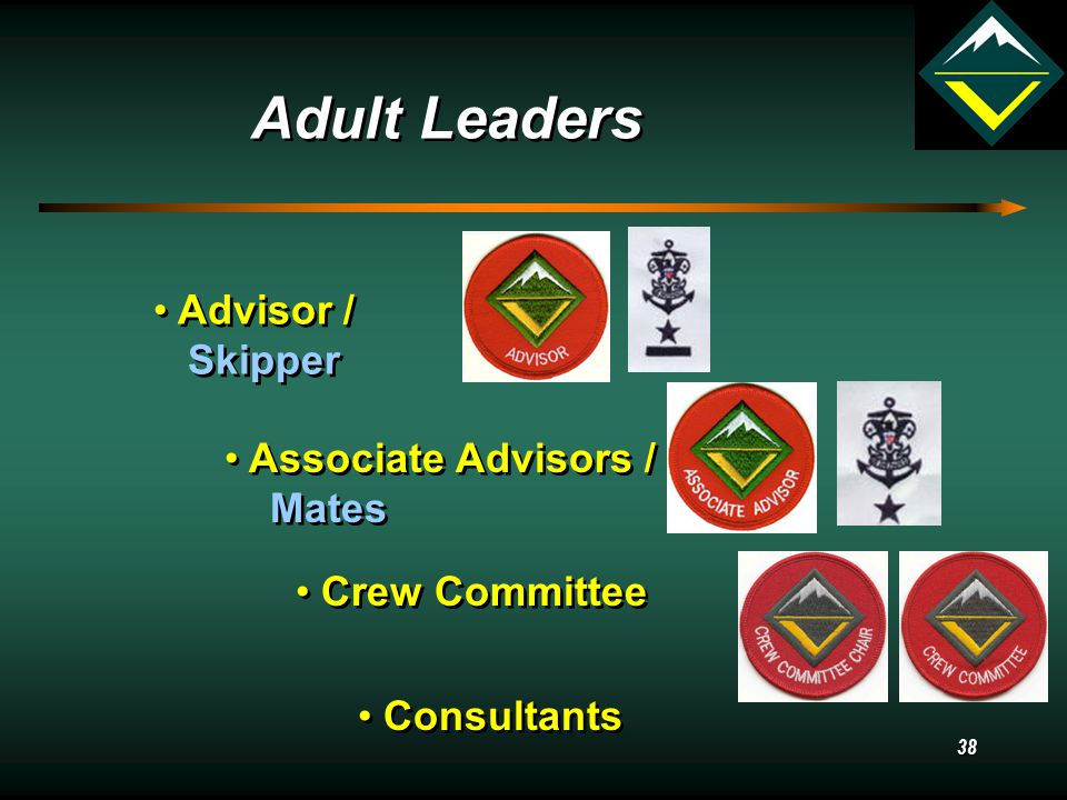 37 Crew / Ship Committee Advisor / Skipper Associate Advisor / Mate Administration Associate Advisor / Mate Program Sponsoring Organization Consultant