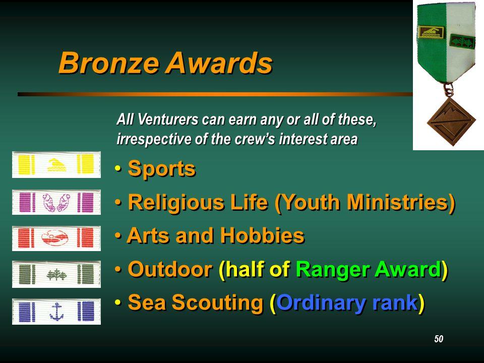 49 Venturing Recognitions Venturing Recognitions Bronze Bronze Gold Gold Silver Silver Bronze Bronze Gold Gold Silver Silver Ranger – outdoor skills Quest – sports skills Sea Scout Quartermaster