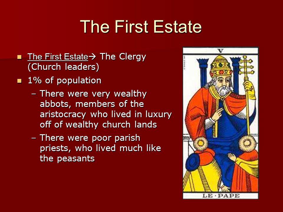 The First Estate The First Estate  The Clergy (Church leaders) The First Estate  The Clergy (Church leaders) 1% of population 1% of population –Ther