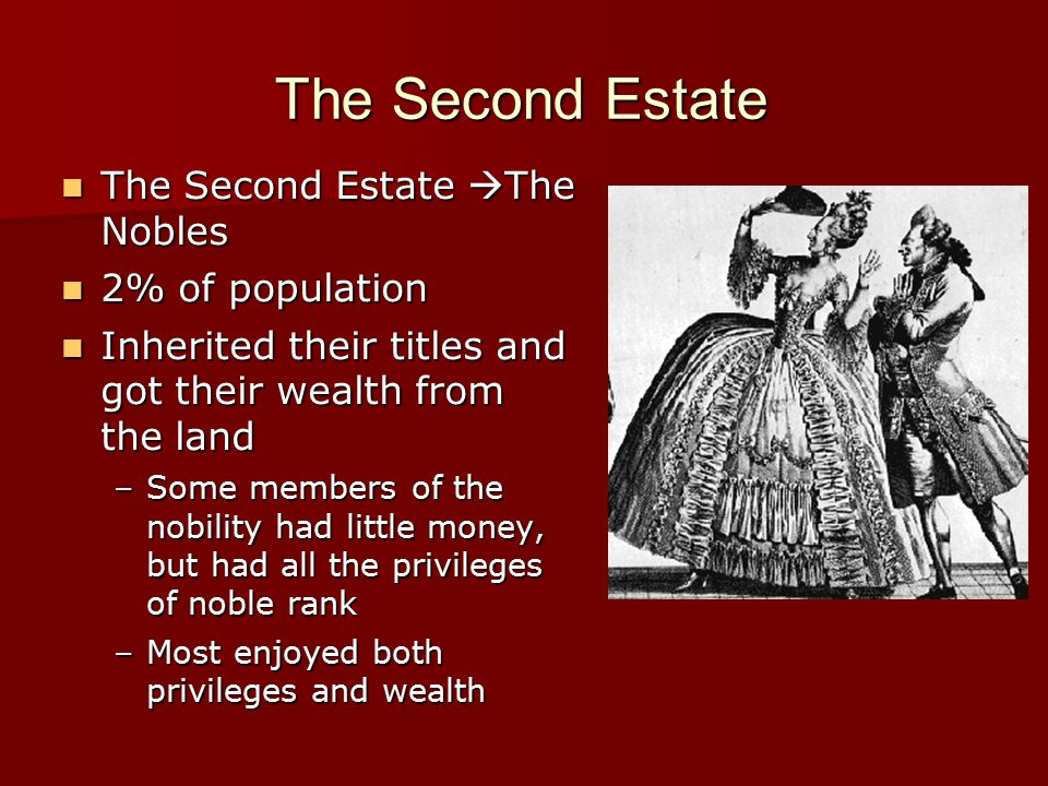 The Second Estate The Second Estate  The Nobles The Second Estate  The Nobles 2% of population 2% of population Inherited their titles and got their