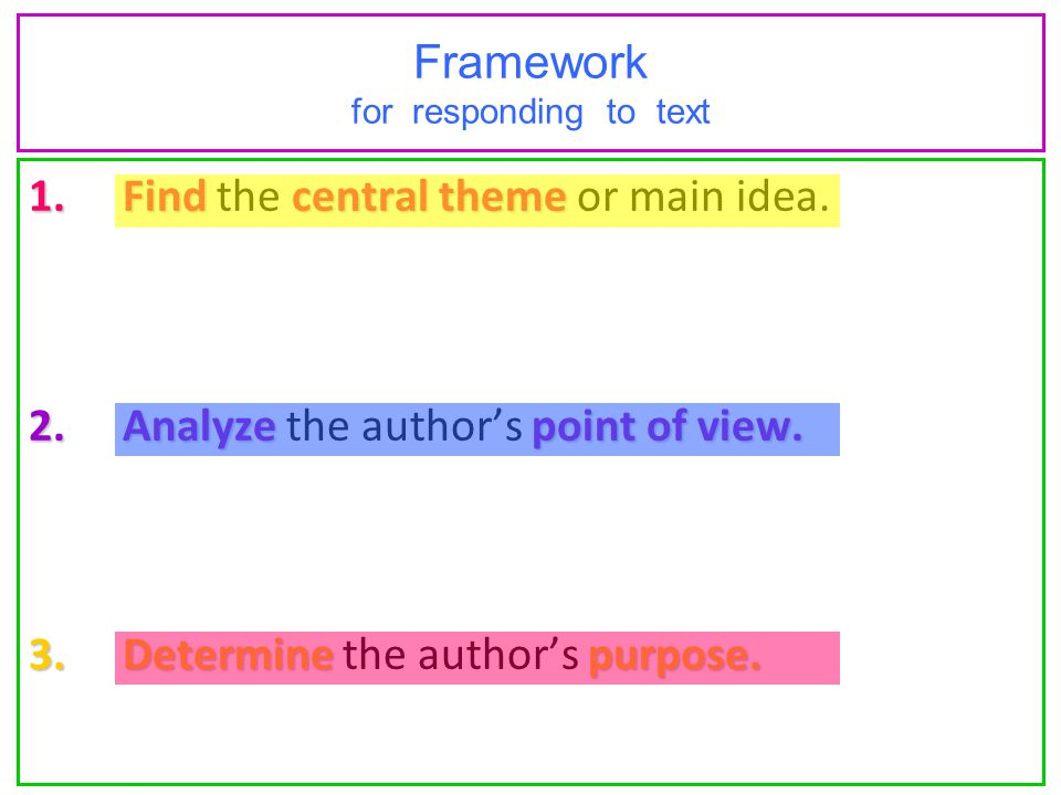 Framework for responding to text 1.Find central theme 1.Find the central theme or main idea. 2.Analyze point of view. 2.Analyze the author's point of