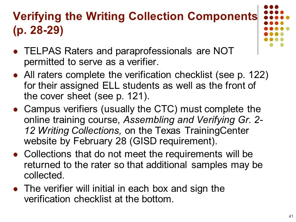 Verifying the Writing Collection Components (p.