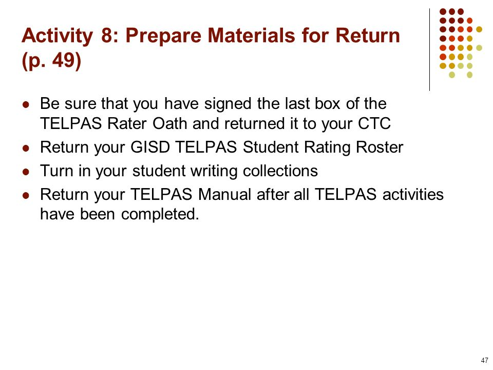Activity 8: Prepare Materials for Return (p.