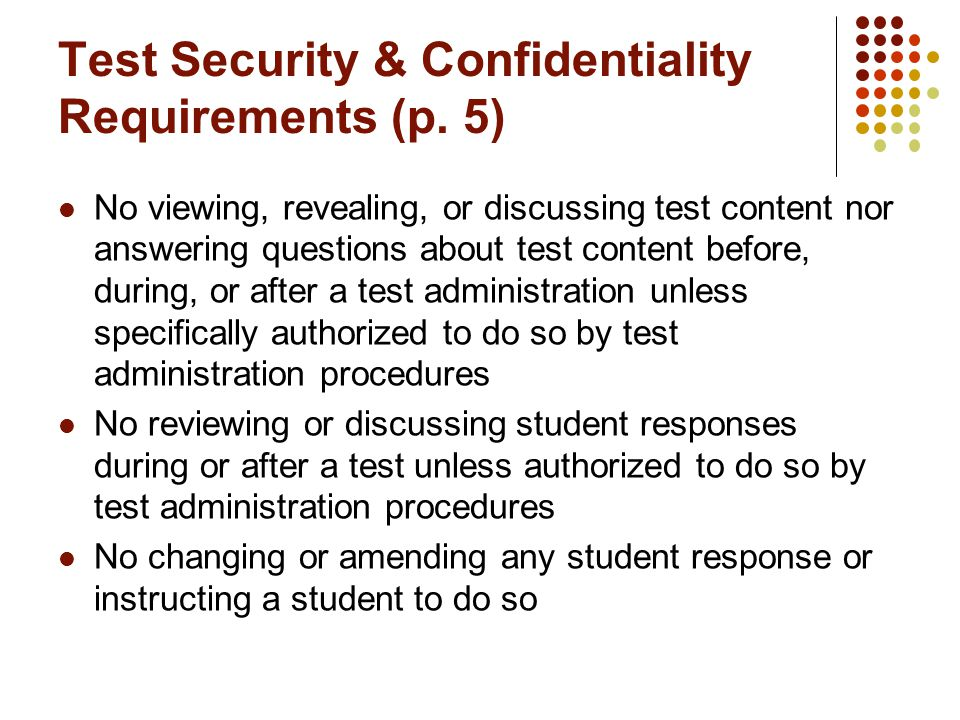 Test Security & Confidentiality Requirements (p.