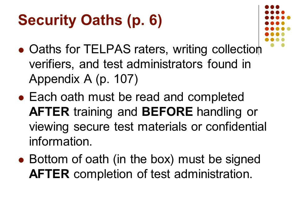 Security Oaths (p.