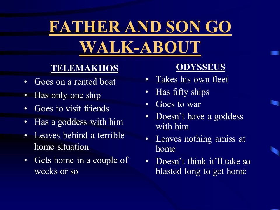 FATHER AND SON GO WALK-ABOUT TELEMAKHOS Goes on a rented boat Has only one ship Goes to visit friends Has a goddess with him Leaves behind a terrible home situation Gets home in a couple of weeks or so ODYSSEUS Takes his own fleet Has fifty ships Goes to war Doesn't have a goddess with him Leaves nothing amiss at home Doesn't think it'll take so blasted long to get home