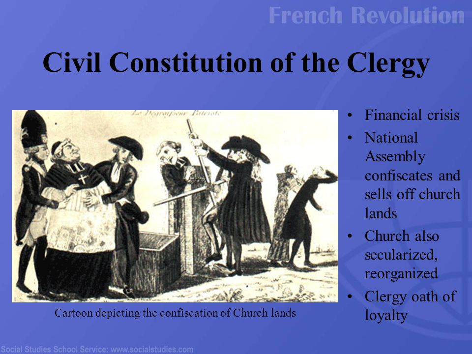 Financial crisis National Assembly confiscates and sells off church lands Church also secularized, reorganized Clergy oath of loyalty Civil Constituti