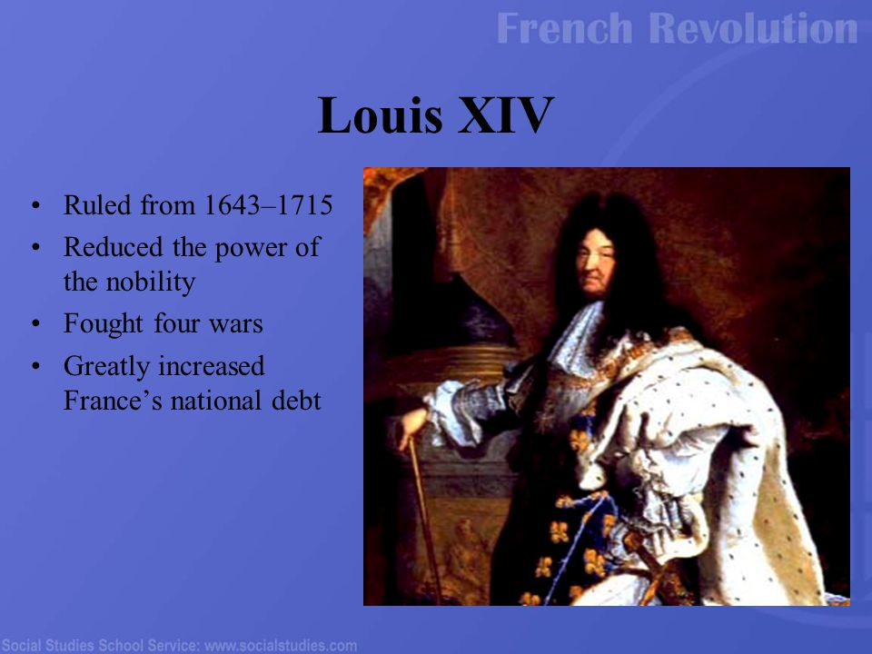 Ruled from 1643–1715 Reduced the power of the nobility Fought four wars Greatly increased France's national debt Louis XIV