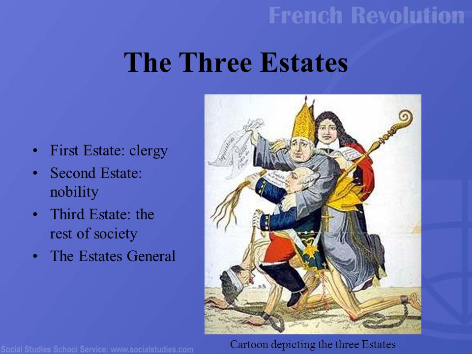 First Estate: clergy Second Estate: nobility Third Estate: the rest of society The Estates General The Three Estates Cartoon depicting the three Estat