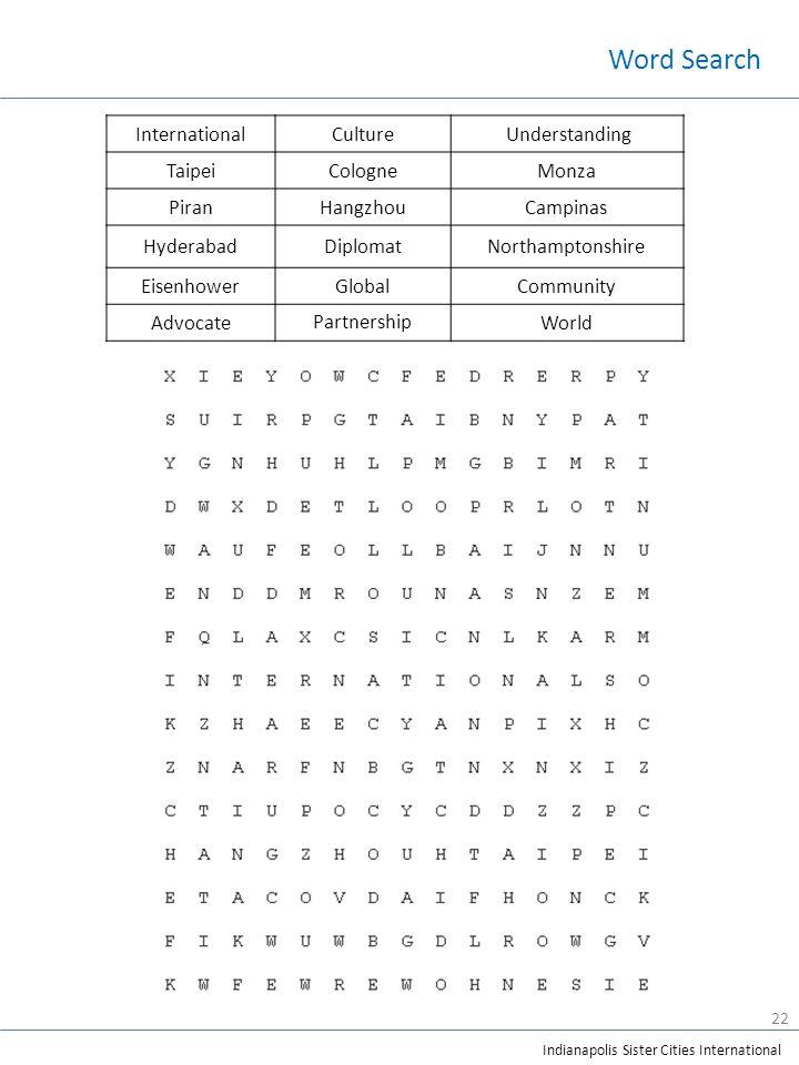 Indianapolis Sister Cities International InternationalCulture Understanding TaipeiCologneMonza PiranHangzhouCampinas HyderabadDiplomatNorthamptonshire EisenhowerGlobalCommunity Advocate Partnership World Word Search 22