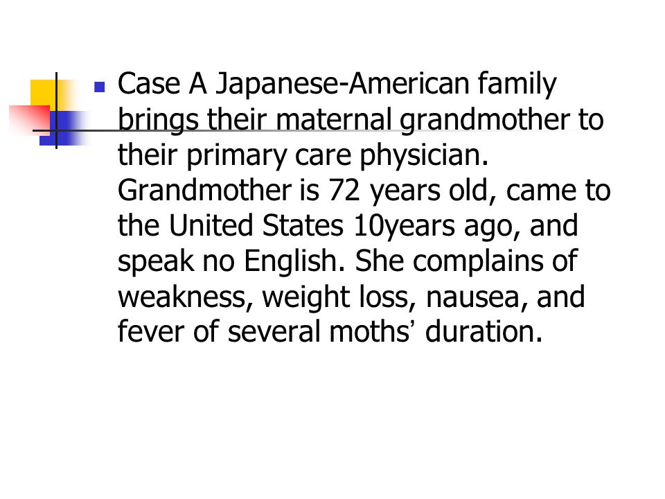 Case A Japanese-American family brings their maternal grandmother to their primary care physician. Grandmother is 72 years old, came to the United Sta