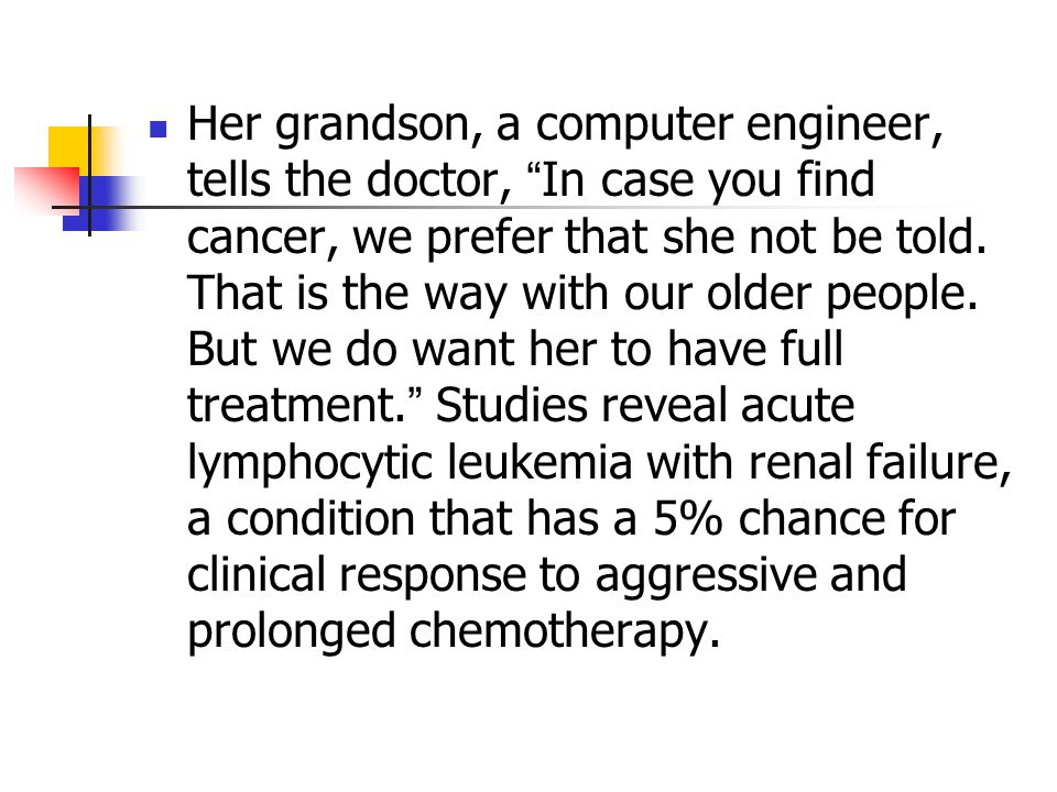 """Her grandson, a computer engineer, tells the doctor, """" In case you find cancer, we prefer that she not be told. That is the way with our older people."""