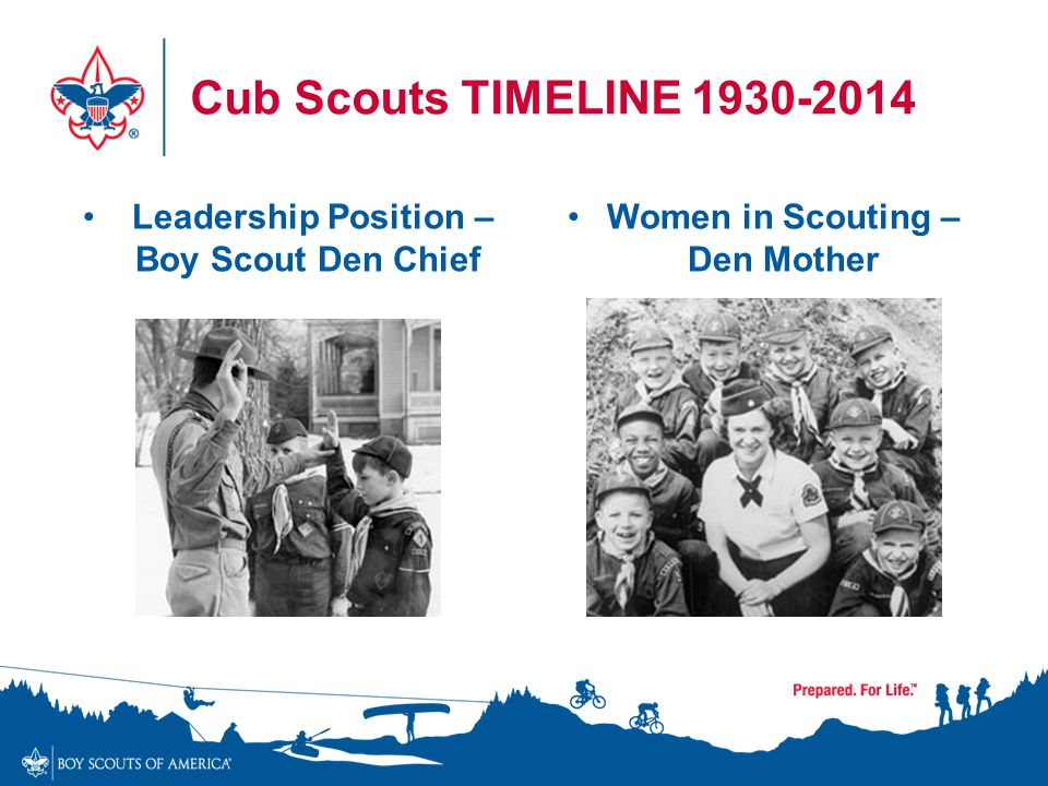Cub Scouts TIMELINE 1930-2014 Women in Scouting – Den Mother Leadership Position – Boy Scout Den Chief